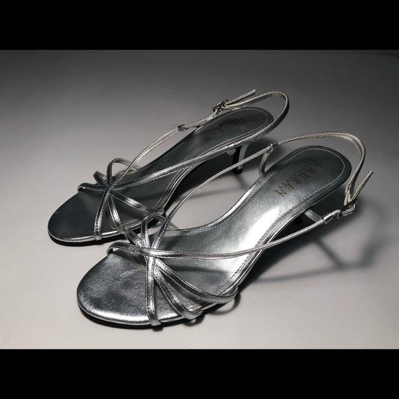 Ralph Lauren Silver Strap Kitten Heel
